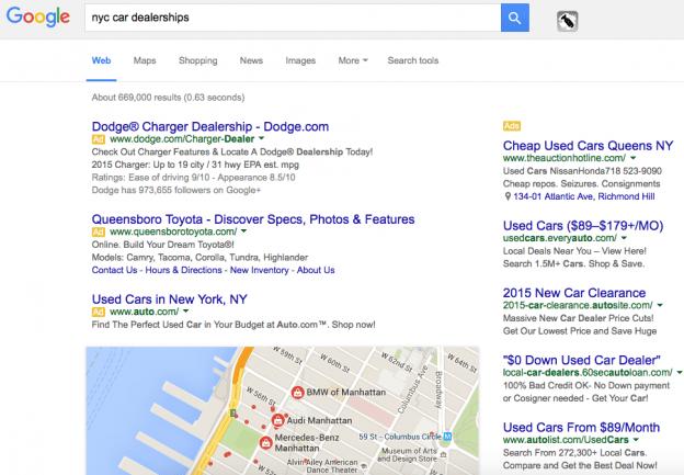Google Organic Results below the fold