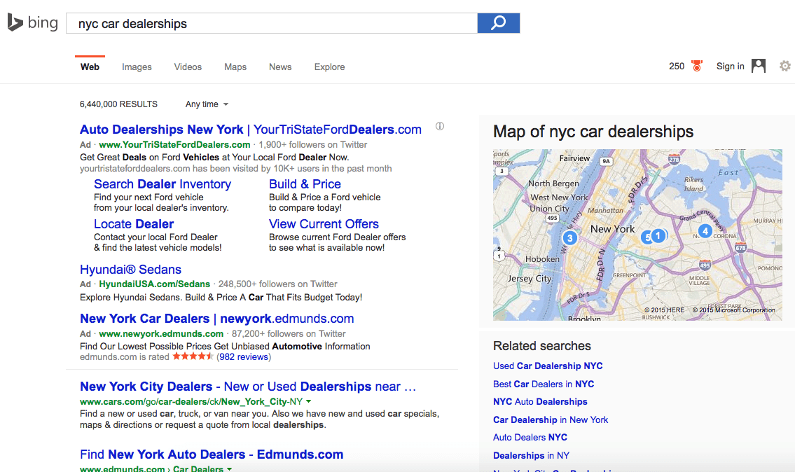 Bing Results Show Organic Listings above the fold