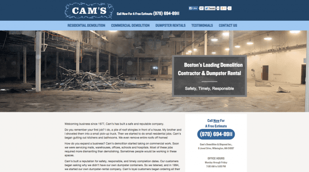 Web Design for Demolition Firm
