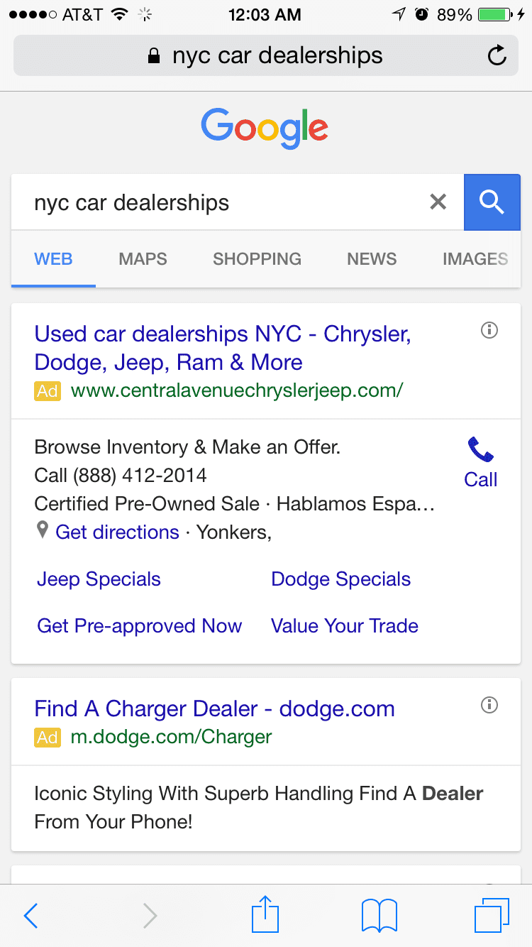 Google Mobile Results Show Only Paid Ads