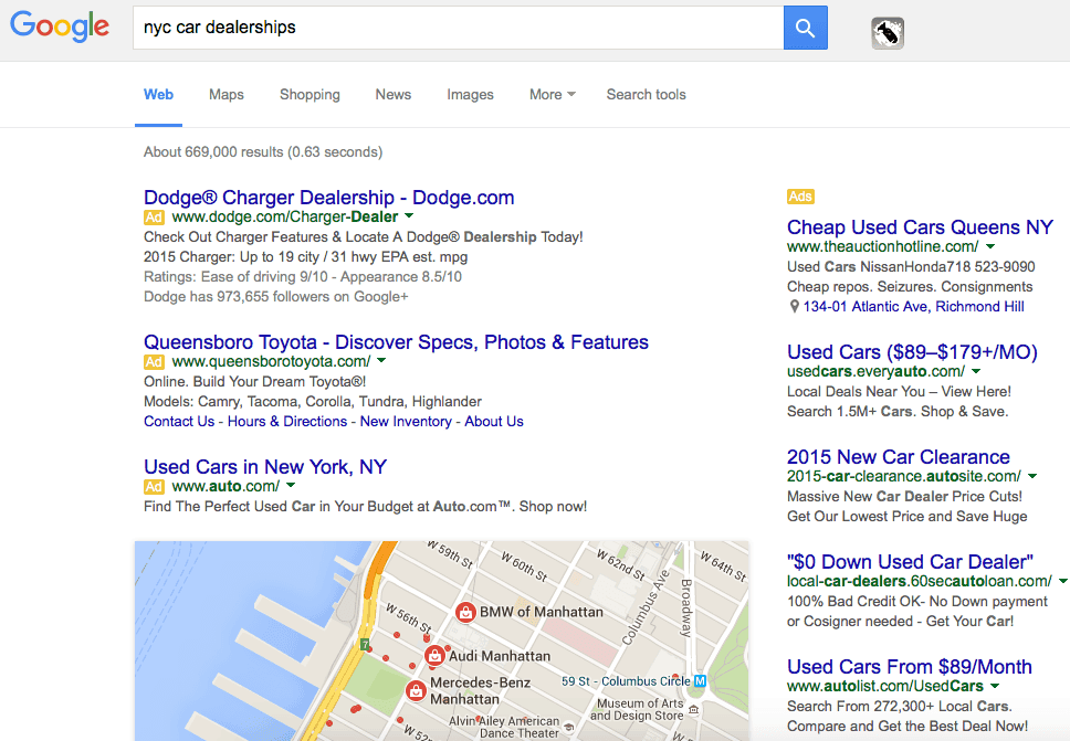 Google Organic Results below the fold