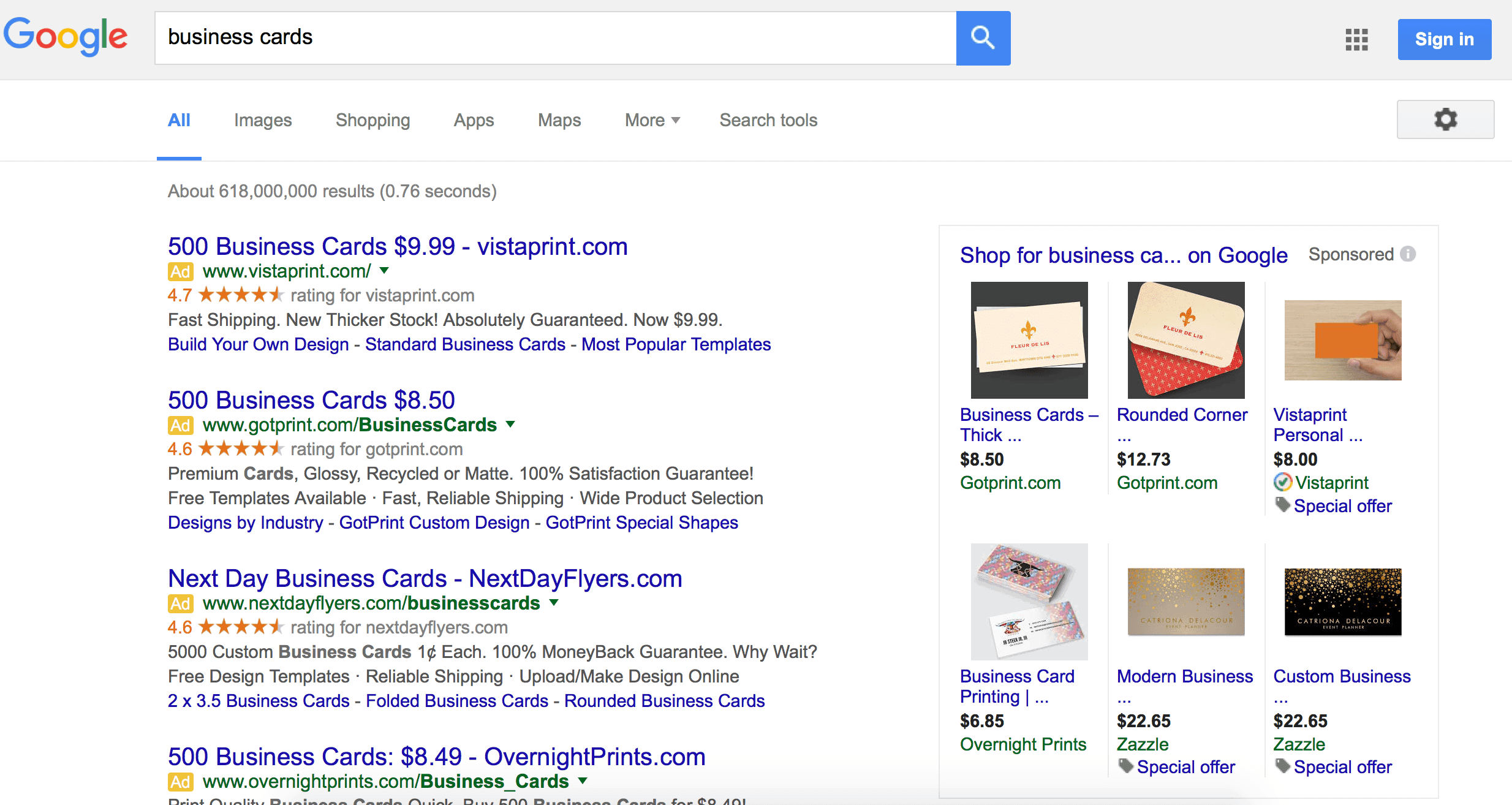 GooglSearch Results All Ads Above The Fold